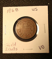 1868 SHIELD 2 CENTS VG  GOOD