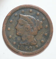 1848 US MINT BRAIDED HAIR LARGE 1 ONE LARGE CENT PENNY COIN