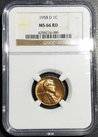 1958 D LINCOLN WHEAT CENT NGC MS66 RD RED 1C MINT STATE COPPER PENNY UNC COIN