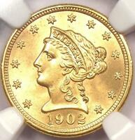 1902 LIBERTY GOLD QUARTER EAGLE $2.50   NGC MS66    IN MS66   $2,100 VALUE