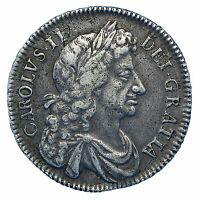CHARLES II SILVER HALF CROWN 1676 RETRO 1 4TH BUST S3367 ESC 478A  BVF