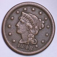 XF 1848 LARGE CENT R1CT