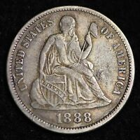 VF 1888 SEATED LIBERTY DIME R4CN
