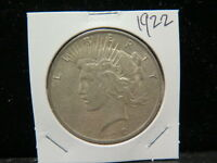 1922 $1 PEACE DOLLAR   V.G. CIRCULATED COIN   LARGE WEEKEND  COIN SALE  1753