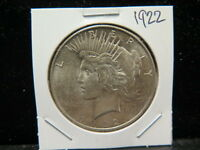 1922 $1 PEACE DOLLAR   ABOUT UNCIRCULATED COIN   LARGE WEEKEND  COIN SALE  1759