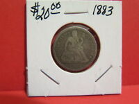 1883 10C SEATED LIBERTY DIME. AVERAGE CIRCULATED CONDITION. STORE SALE 3763