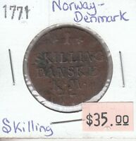 DENMARK & NORWAY SKILLING 1771 CIRCULATED