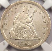 1843 O SEATED LIBERTY QUARTER 25C   NGC XF DETAILS    DATE