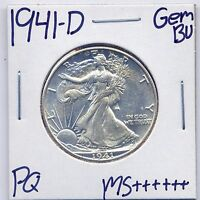 1941 D WALKING LIBERTY HALF DOLLAR UNC US MINT GEM PQ SILVER COIN BU MS