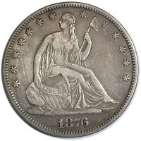 1876 SEATED LIBERTY HALF DOLLAR   NICE CIRCULATED  COIN    DATE