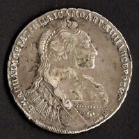 RUSSIA ANNA ROUBLE 1736 ABOUT FINE.