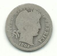 A VINTAGE 1902 P BARBER SILVER DIME OLD US COIN JUN360