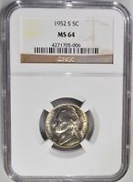 1952 S JEFFERSON NICKEL GRADED MS64 START YOUR COIN COLLECTION TODAY