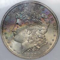 1880 S MORGAN SILVER DOLLAR NGC MS63 UNCIRCULATED WITH RAINBOW OBVERSE TONING