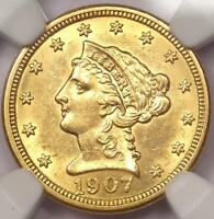1907 LIBERTY GOLD QUARTER EAGLE $2.50   NGC UNCIRCULATED    MS UNC COIN