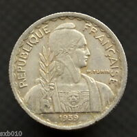 FRENCH INDOCHINA 10 CENTS  1939 MAGNETIC . KM21.1  EXACT ITEM PICTURED.