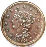 1849 CORONET LARGE CENT N 8   NGC UNCIRCULATED DETAIL UNC MS    VARIETY
