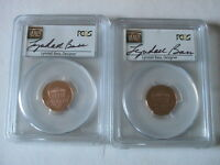 2 2014 S PCGS PR69RD DCAM LINCOLN SHIELD CENTS LYNDALL BASS AUTOGRAPH LABELS