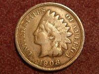 1908 S INDIAN HEAD CENT VG F DETAILS   CLEANED