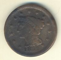 1851 BRAIDED HAIR LIBERTY HEAD LARGE CENT NICE OLD COPPER COIN