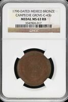 MEDALS & TOKENS 1790 NGC MS63RB GROVE C 43B 13908