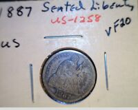 1887 US SEATED LIBERTY DIME  CIRCULATED HIGH GRADE .900 SILVER US 1258