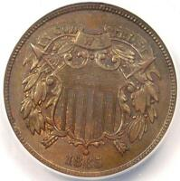 1865 TWO CENT PIECE 2C - ANACS MINT STATE 63 -  CERTIFIED COIN