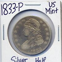 1833 P CAPPED BUST SILVER HALF DOLLAR US MINT SILVER COIN 90