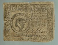 CONTINENTAL COLONIAL CURRENCY EIGHT DOLLARS $8 NOVEMBER 2 1776 ISSUE