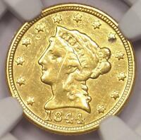 1844 C LIBERTY GOLD QUARTER EAGLE $2.50   NGC XF DETS    CHARLOTTE GOLD COIN