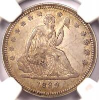1839 NO DRAPERY SEATED LIBERTY QUARTER 25C   NGC AU DETAILS    DATE COIN