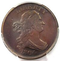 1804 DRAPED BUST HALF CENT 1/2C C 10   CERTIFIED PCGS XF DETAILS EF    COIN