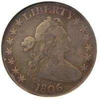 1806 DRAPED BUST HALF DOLLAR 50C O-109 - CERTIFIED ANACS FINE DETAILS / NET VG8