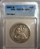 1857 S  SEATED LIBERTY SILVER  HALF DOLLAR  ICG F 12  DETAILS