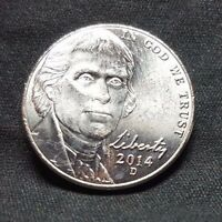 2014 D 5C JEFFERSON NICKEL BRILLIANT UNCIRCULATED FROM OBW ROLL