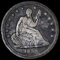 VF 1839 SEATED LIBERTY QUARTER R7TFM