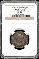 GREAT BRITAIN 1/4 PENNY 1676 NGC PF53 P 492 35004