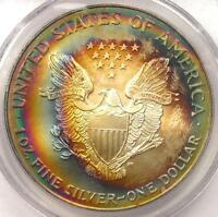 2000 TONED AMERICAN SILVER EAGLE ASE   PCGS MS66   RAINBOW TONING COIN