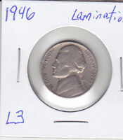 1946 JEFFERSON NICKEL LAMINATION ERROR L3