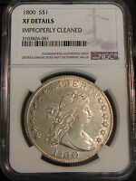 1800 DRAPED BUST HERALDIC EAGLE SILVER DOLLAR NGC XF DETAILS