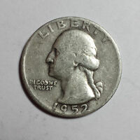WASHINGTON QUARTER DOLLAR 1952  DENVER   25C 90 SILVER   US   F
