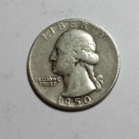 WASHINGTON QUARTER DOLLAR 1950  PHILADELPHA  25C 90 SILVER  F US