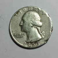 WASHINGTON QUARTER DOLLAR 1953 D,DENVER  25C 90 SILVER  US  F