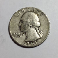 WASHINGTON QUARTER DOLLAR 1951 DENVER  25C 90 SILVER   US  F