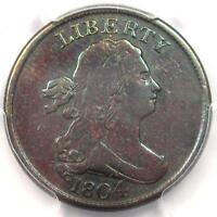 1804 DRAPED BUST HALF CENT 1/2C COIN CROSSLET 4 STEMS. CERTIFIED PCGS GENUINE