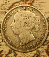 1900 NEWFOUNDLAND CANADA SILVER 20 CENT COIN. LOT NF981 LOTS OF WEAR.