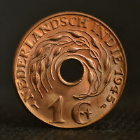 NETHERLANDS EAST INDIES 1 CENT COIN 1945. EF. KM317. 1PCS