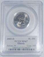 2003 D ILLINOIS STATE QUARTER 25C PCGS MS67 FLAG HOLDER