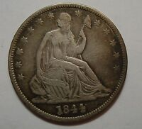 1844 SEATED SILVER HALF DOLLAR AU CLEANED NN34