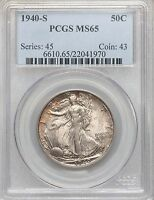 1940-S LIBERTY WALKING HALF DOLLAR PCGS MINT STATE 65